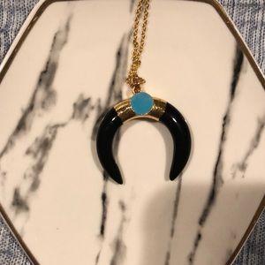 NWOT Black Horseshoe Necklace with Turquoise Stone